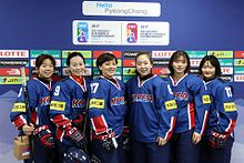 91a67ced3 Members of the South Korean women's hockey team posing before their game  against Australia at the 2017 IIHF Women's World Championship Division II.