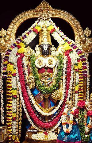 Venkateswara - Lord Venkateswara with consorts Lakshmi and Padmavati.