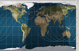 Orbits of the ISS, shown in April 2013 ISS orbits 04132013.jpg