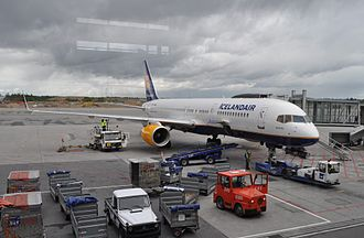 Aircraft ground handling - Icelandair plane being serviced by another airline; SAS at Gardermoen Airport