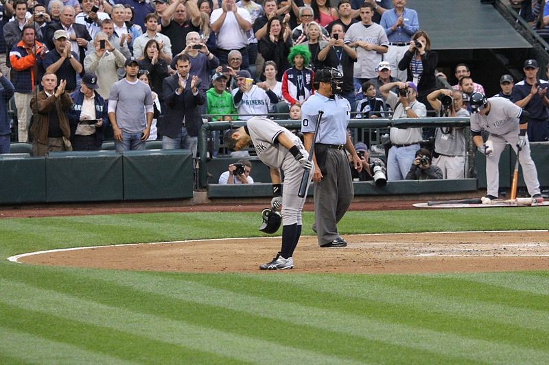 File:Ichiro bows to the Safeco Field crowds standing ovations before his first at-bat as a Yankee (7635298492).jpg
