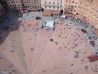 Piazza del Campo - Gores of brick paving viewed from the Torre del Mangia