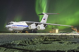 Ilyushin Il-76MD-90A with aurora and meteor.jpg