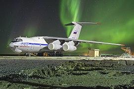 Ilyushin Il-76MD-90A with aurora and meteor.jpg