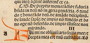 Rubrication - Detail from a rare Blackletter Bible (1497) printed and rubricated in Strasbourg by Johann Grüninger.