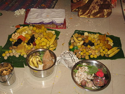 Different varieties of sweets served on a Pumsavana function. Indian Sweets.JPG