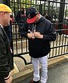 Indians skipper Terry Francona signs for fans before -WorldSeries Game 1. (30266043650).jpg