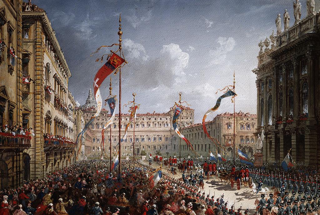 L'entrée de Vittorio Emanuele II dans le Palais Royal de Turin sur un tableau de Carlo Bossoli (1866).