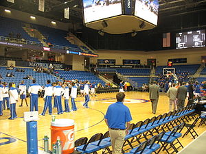 College Park Center - The interior of College Park Center as the UTA Mavericks men's basketball team warms-up.