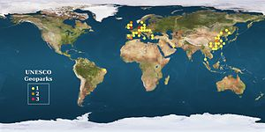 Geopark - World locator map for Geoparks included in the UNESCO Global Geoparks Network—GGN.