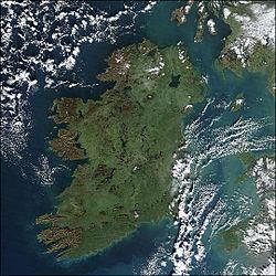 satelitní pohled na Irsko