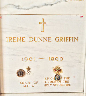 Irene Dunne - Crypt of Irene Dunne at Calvary Cemetery (notice incorrect birth year)