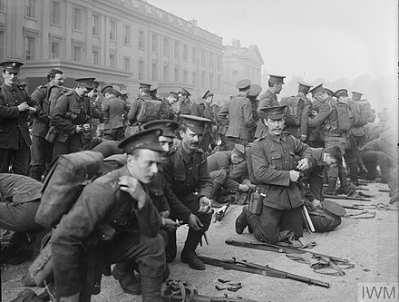 1st Battalion, Irish Guards prepare to leave Wellington Barracks, Westminster, London, following the outbreak of the First World War, 6 August 1914. The Battalion arrived in France as part of the British Expeditionary Force on 13 August 1914. Irish Guards leave for France.jpg