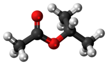 Ball-and-stick model of the isopropyl acetate molecule