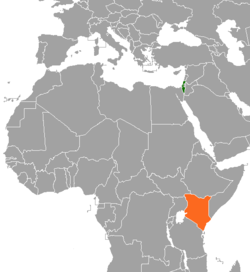 Map indicating locations of Israel and Kenya