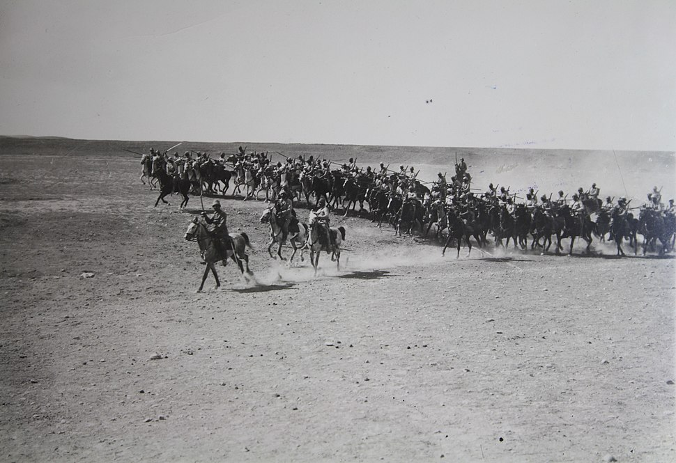 Israel in World War I - Ottoman cavalry unit during World War I frontal assault H OP 036