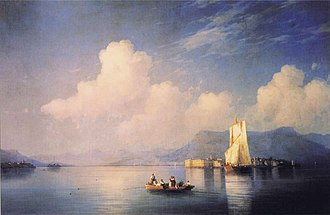World tour of Ulysses S. Grant - Lake Maggiore in the Evening Ivan Aivazovsky 1858