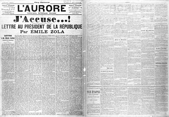 1898 in literature - J'Accuse…!: the first page of Zola's letter