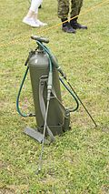 JGSDF Personal Decontamination equipment type 2 at Camp Shinodayama April 24, 2016.JPG