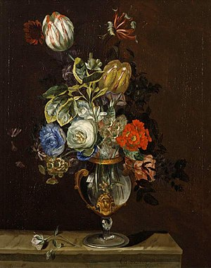 Jacob Campo Weyerman - Bouqet of flowers in a glass vase, collection Fitzwilliam Museum