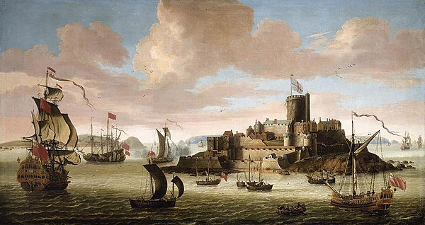 Castle Cornet over the harbour of St Peter Port in the second half of 17th century. Jacob Knyff - An English Ship and other Shipping off Castle Cornet, Guernsey - WGA12219.jpg