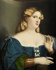 Young Woman in blue Gown with Feather
