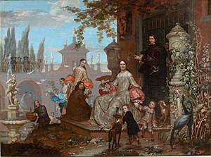 Jan van Kessel the Younger - Portrait of a family in a garden, 1679, Prado Museum