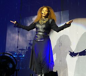 """Together Again (Janet Jackson song) - Jackson performing """"Together Again"""" during her Unbreakable World Tour (2015-16)."""