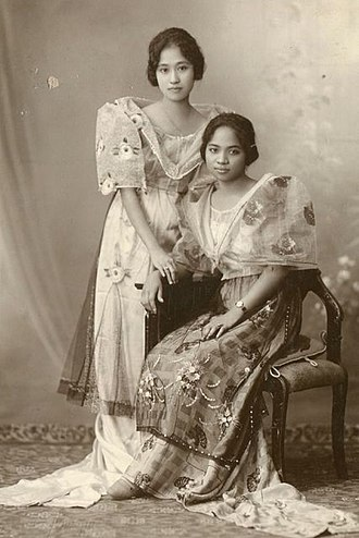 Japanese in the Philippines - Japanese Filipina woman (left) wearing Maria Clara gown