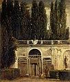 Jardines de la Villa Médicis, dos hombres a la entrada de la gruta, by Diego Velázquez.jpg