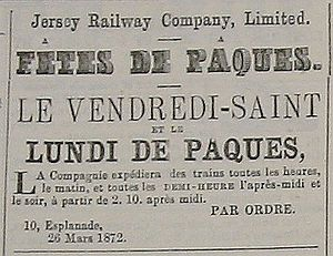 Jersey Railway - 1872 advertisement for special Easter services