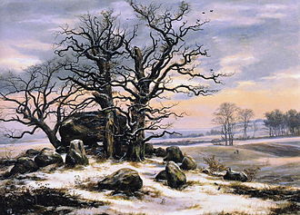 Johan Christian Dahl - Megalithic Tomb in Winter, 1824-25, inspired by the artist's friend, Caspar David Friedrich.
