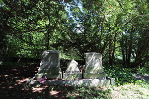 John B. Bachelder - The gravestones of John B. Bachelder, his daughter Charlotte, and his wife, Elizabeth.