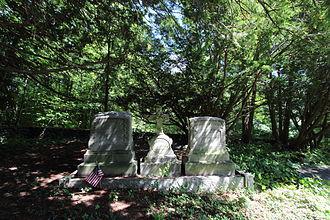 John B. Bachelder - The gravestones of John B. Bachelder, his daughter Charlotte, and his wife, Elizabeth.