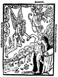 "Allegorical woodcut of Time, who ""revealeth all things"", guiding his daughter Truth away from the demon of Hypocrisy. John Byddell, 1535."