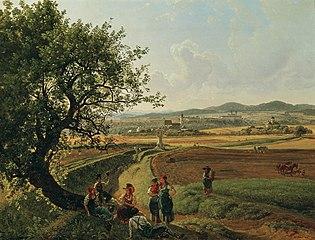 Ansicht der Herrschaften Schloss Emmersdorf und Rothenhof mit Stift Melk im Hintergrund