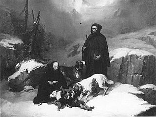Moins de Saint-Bernard qui offrent de l'aide à une femme et un l'enfant qui sont pris dans la neige par le froid