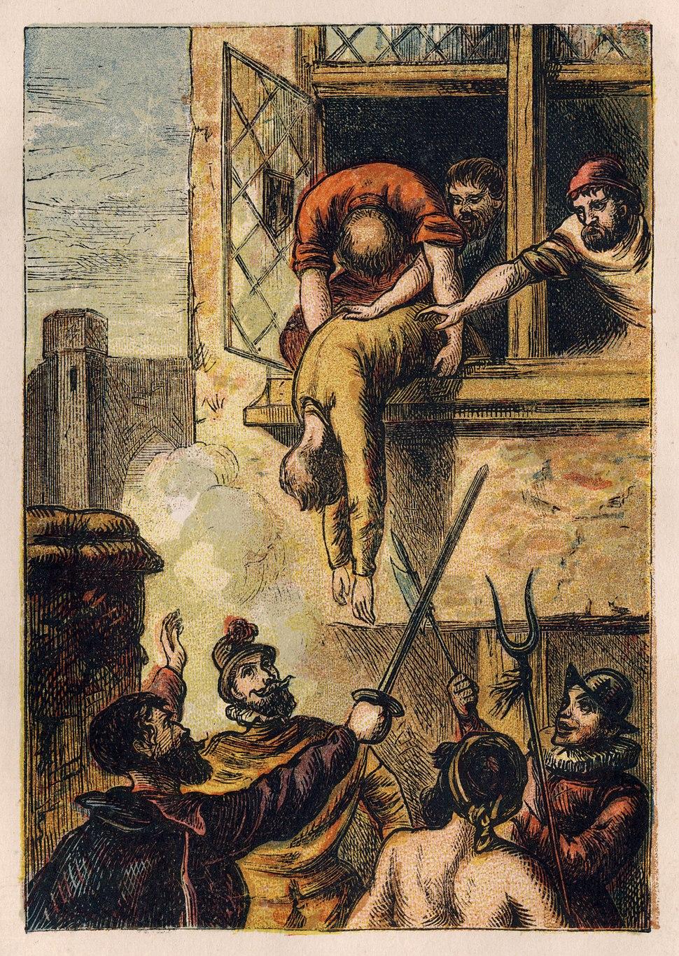 Joseph Martin Kronheim - Foxe's Book of Martyrs Plate II - Death of Admiral de Coligny