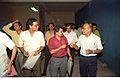 Journalists Interviewing Saroj Ghose - Dinosaurs Alive Exhibition - Science City - Calcutta 1995-06-15 136.JPG