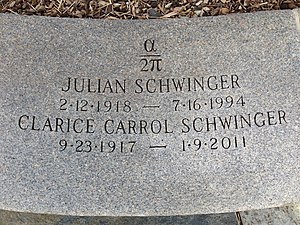 Julian Schwinger - The headstone of Julian Schwinger at Mt Auburn Cemetery in Cambridge, MA.