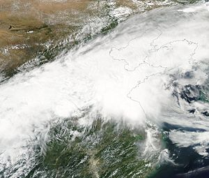 2016 China floods - Satellite image of the meiyu front and associated thunderstorms on 23 June when a violent tornado struck Jiangsu