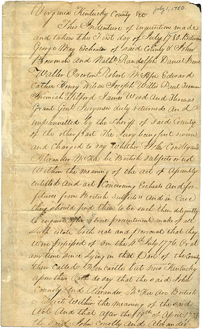 Jury finding from Kentucky County, Virginia, confiscating lands of two men adjudged to be British subjects - Daniel Boone was listed as member of the jury (July 1780) Jury finding Kentucky County Virginia John Connolly Daniel Boone 1780.jpg