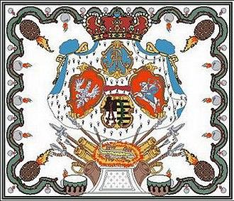 Flag of Saxony - Image: Königreich Sachsen Artillerie bis 1890 Leibregiment Union Polen Sachsen Litauen