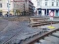 Křižovatka Anděl, rekonstrukce, pohled k Lidické, přerušení kolejí.jpg