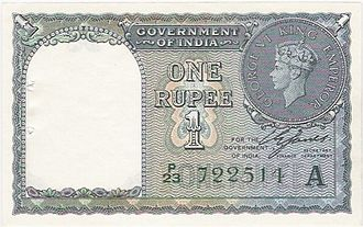 Indian 1-rupee note - British Indian one rupee note