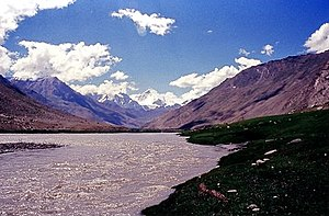 Suru River (Indus) - Nun Kun Mountain massif at the distance
