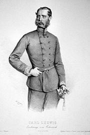 Károly Lajos főherceg (Joseph Kriehuber litográfiája, 1862