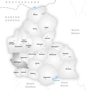 Otelfingen - Image: Karte Gemeinde Otelfingen