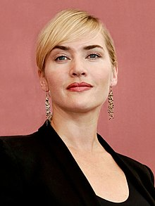 A close-up shot of Kate Winslet's face at the 2011 Venice International Film Festival