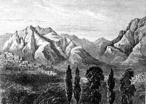 Kermanshah - A view of Kermanshah in mid 19th century- toward south, Farokhshad Mt. and Wasi Mt. are visible at background